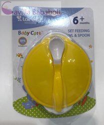 Baby care etető tál + kanál, sárga