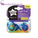 Tommee Tippee Night Time játszócumi 0-6 hó 2 db kék űr