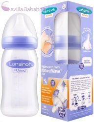 Lansinoh 240 ml cumisüveg, közepes folyású, természetes hullámvonalú etetőcumival