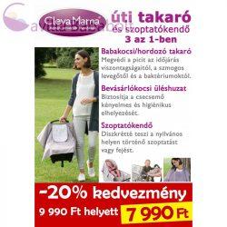 ClevaMama úti takaró , bevásárló kosár betét és szoptatókendő 3 az 1-ben - pink szürke