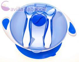 Tapadókorongos tányér tetővel és evőeszközzel kék