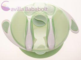 Tapadókorongos tányér tetővel és evőeszközzel zöld