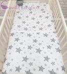 2 részes babaágynemű szett - 70x90 takaró+párna , 100%pamut, szürke csillag