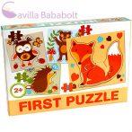Bébi puzzle , erdei állatos 4 db puzzle
