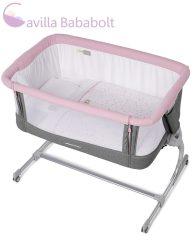 Jané BabySide szülői ágyhoz csatlakoztatható kiságy ágyneművel, rose-grey