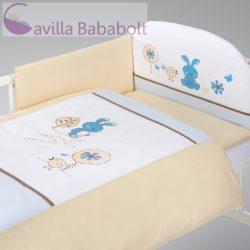 Klups 4 részes ágynemű kék-fehér nyuszis - baldachin, rácsvédő, paplan-és párnahuzat