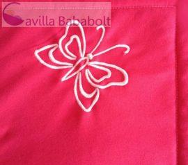 Pink babatakaró hímzett mintával, bélelt, 100% pamut, 70x90 cm, pillangó