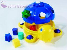 Húzható Csodateknős formabedobó játék, kék-sárga
